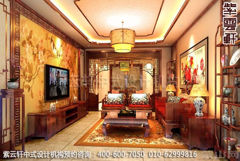 州复式简约风格中式客厅装修效果图赏析